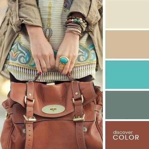 Кожаная коричневая сумка очень сочетается с цветом хаки. Особенно такая подборка цветов подойдет к вашему романтическому настроению.
