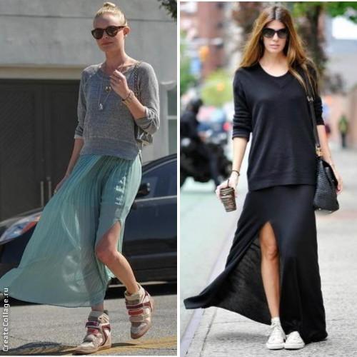 Кеды плюс юбка-макси - строго и загадочно. Трендовые направления. Стилисты рекомендуют