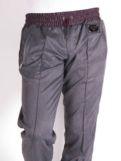 D&G GYM Dolce & Gabbana Stylish Striped Warm Up Pant for Men Grey