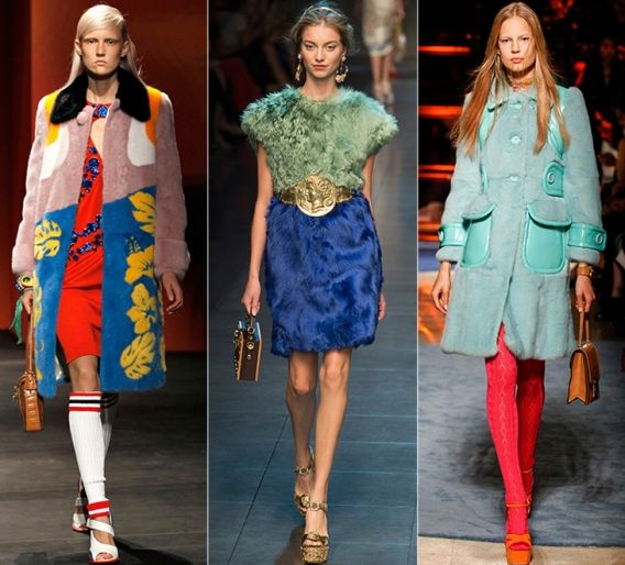 Яркий мех: Prada, Dolce & Gabbana, Miu Miu