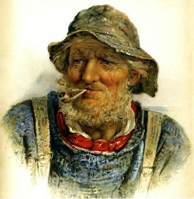 An Old Salt, A Victorian illustration of an old fisherman