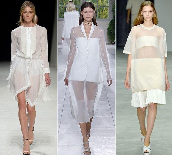 Тотально белые образы: Nina Ricci, Balenciaga, Calvin Klein Collection